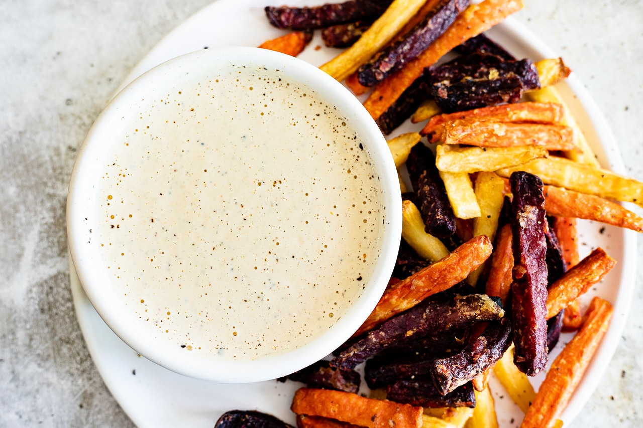 creamy tahini and fries